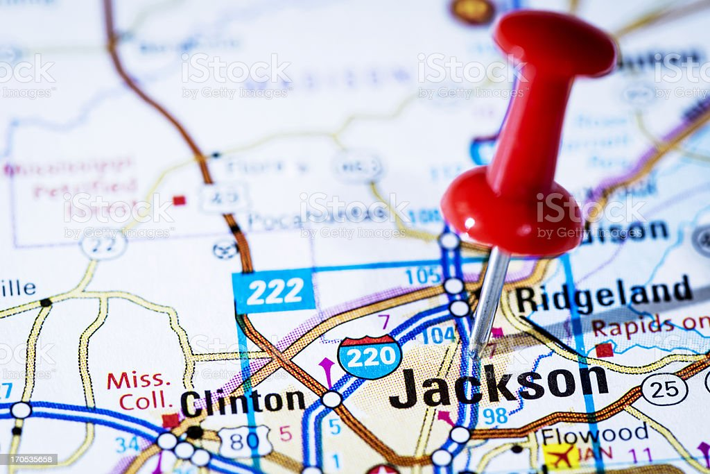 US capital cities on map series: Jackson, Mississippi, MS royalty-free stock photo