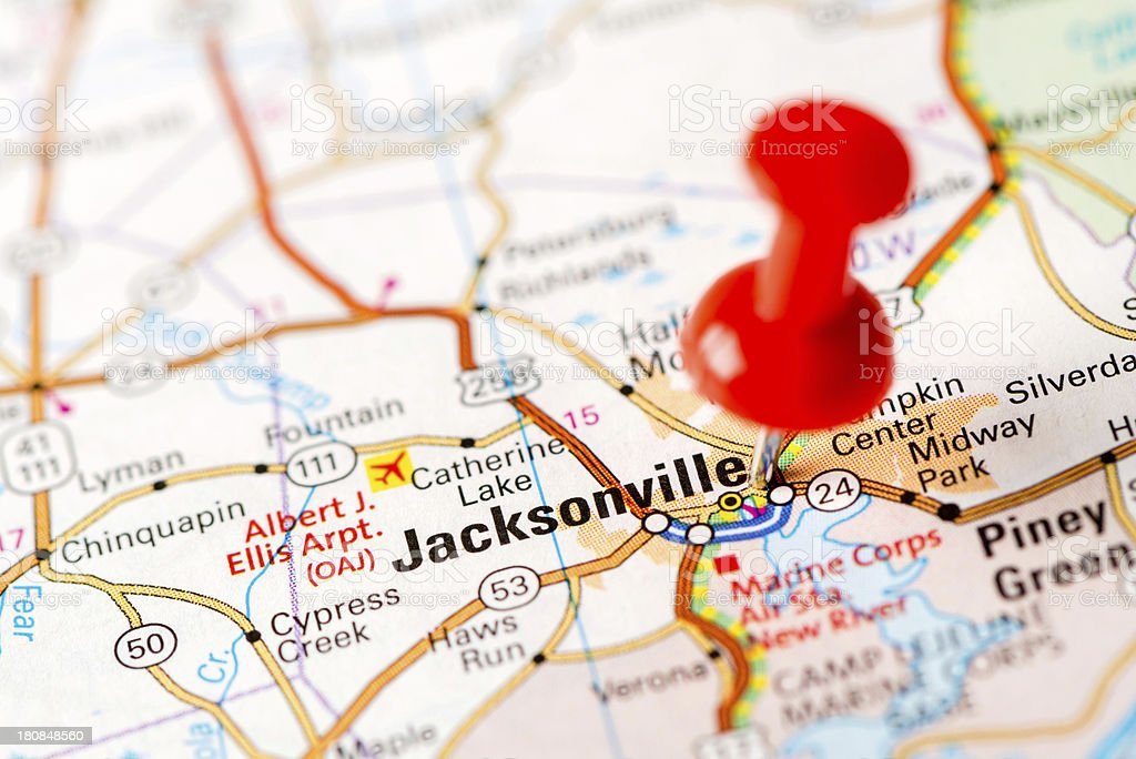 Us Capital Cities On Map Series Jacksonville Nc Stock Photo More