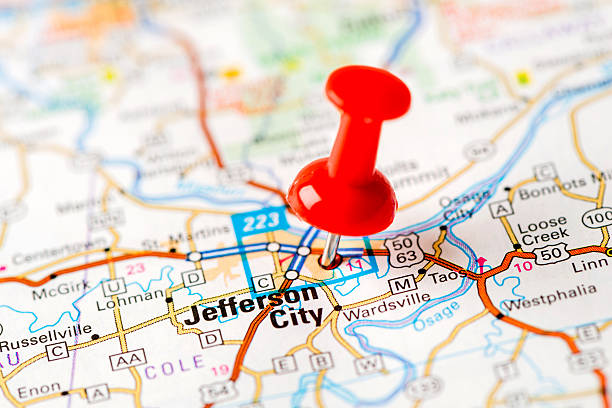 Us Capital Cities On Map Series Jefferson City Mo stock photo | iStock