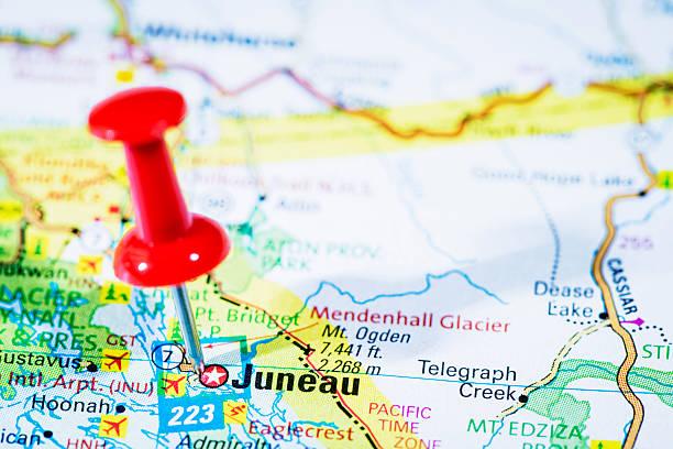 us capital cities on map series: juneau, alaska, ak - alaska us state stock photos and pictures