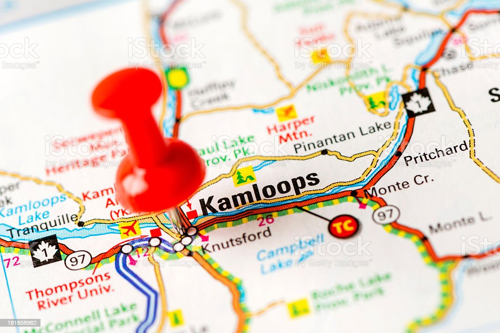 US capital cities on map series: Kamloops, BC stock photo