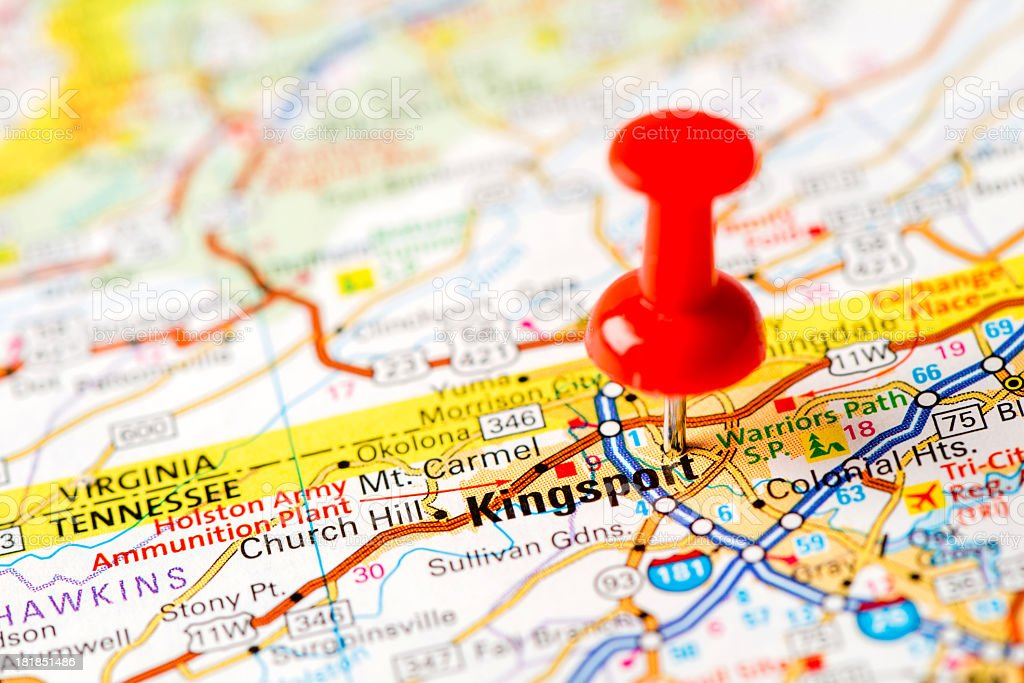 Us Capital Cities On Map Series Kingsport Tn Stock Photo More