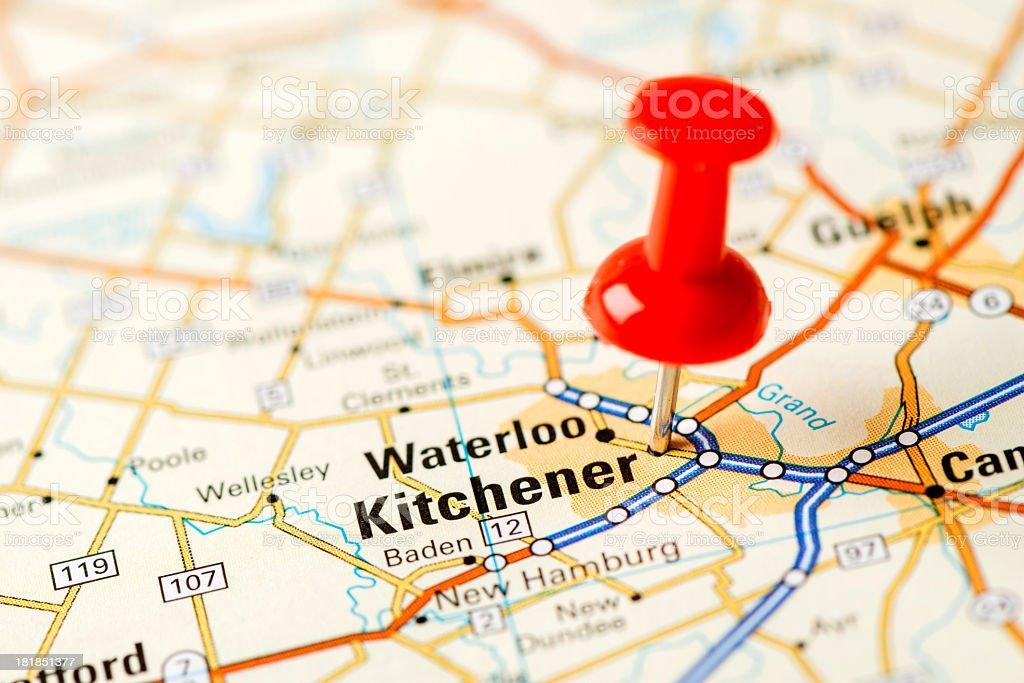 US capital cities on map series: Kitchener, Ontario stock photo