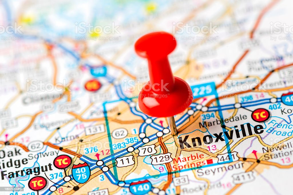 Us Capital Cities On Map Series Knoxville Tn stock photo 180741469