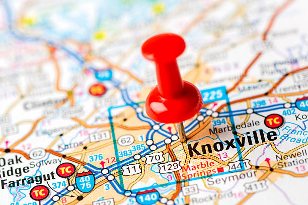 us capital cities on map series: knoxville, tn - tennessee map stock photos and pictures