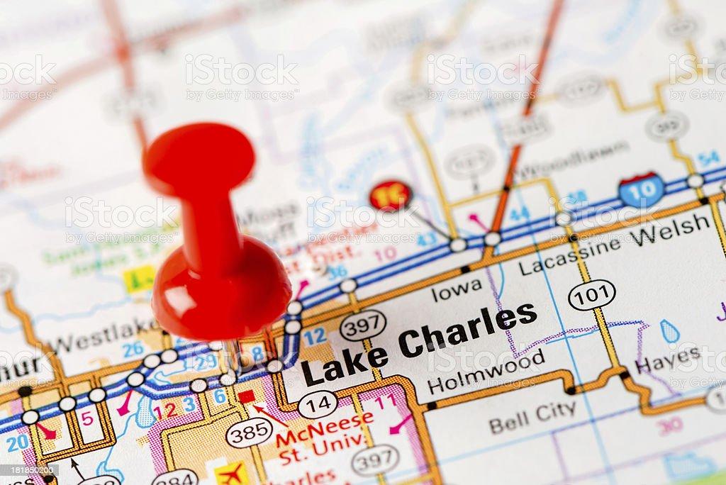 US capital cities on map series: Lake Charles,  LA stock photo