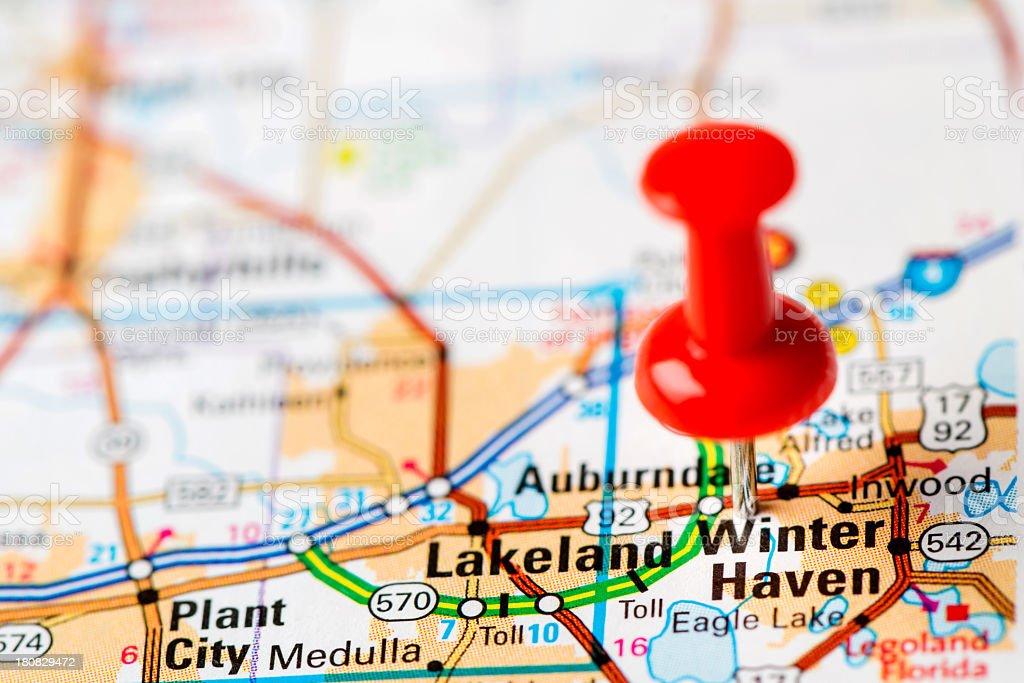 US capital cities on map series: Lakeland, Florida, FL stock photo