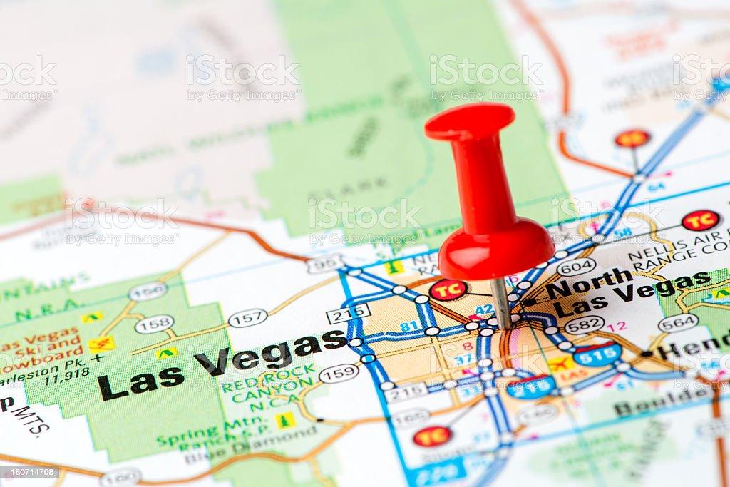 US capital cities on map series: Las Vegas, Nevada, NV stock photo