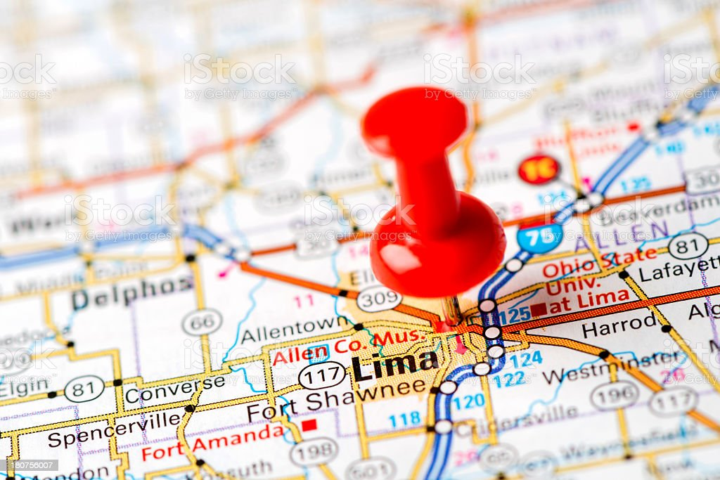 Us Capital Cities On Map Series Lima Oh stock photo iStock