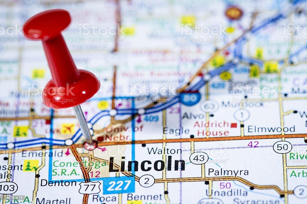 US capital cities on map series: Lincoln, Nebraska, NE stock photo