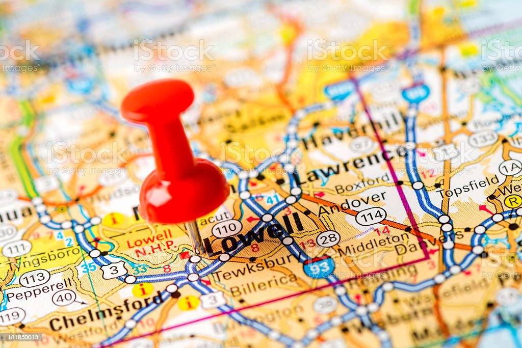 US capital cities on map series: Lowell, MA stock photo