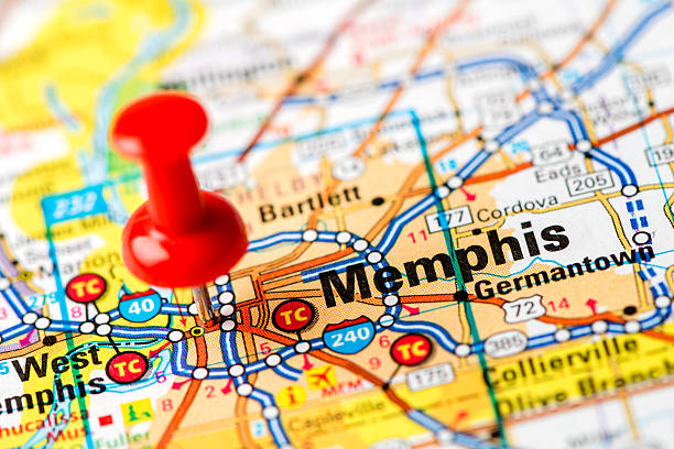 us capital cities on map series: memphis, tn - tennessee map stock photos and pictures