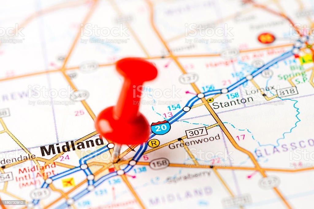 Map Of Texas Midland.Us Capital Cities On Map Series Midland Texas Tx Stock Photo