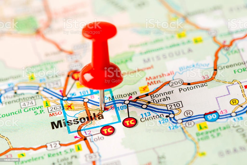 US capital cities on map series: Missoula, MT stock photo