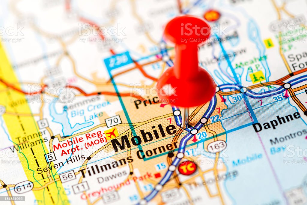 US capital cities on map series: Mobile, AL stock photo