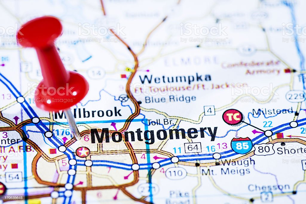 Us Capital Cities On Map Series Montgomery Alabama Al Stock Photo