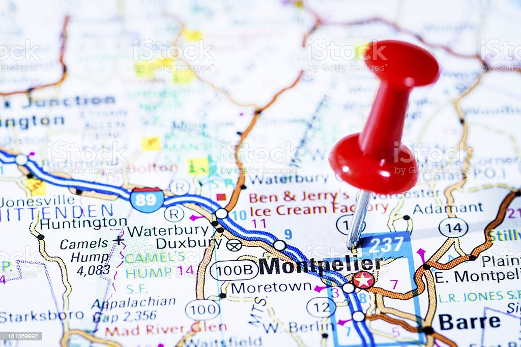 Us Capital Cities On Map Series Montpelier Vermont Vt Stock Photo ...