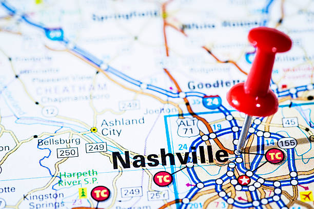 us capital cities on map series: nashville, tennessee, tn - tennessee map stock photos and pictures