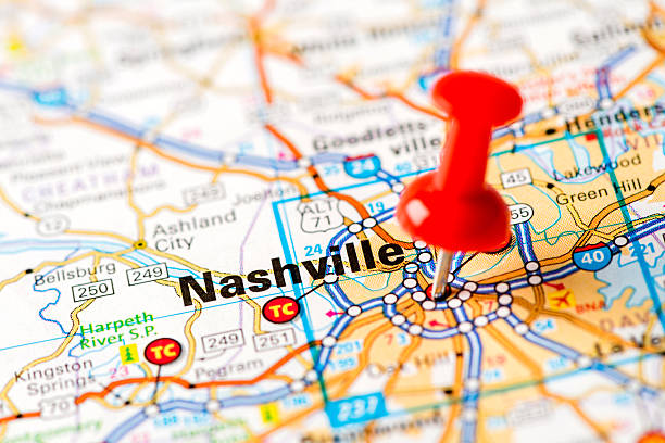 us capital cities on map series: nashville, tn - tennessee map stock photos and pictures