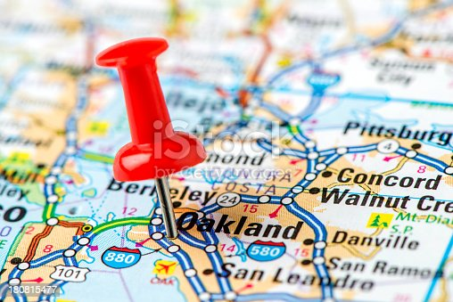 istock US capital cities on map series: Oakland, CA 180815477