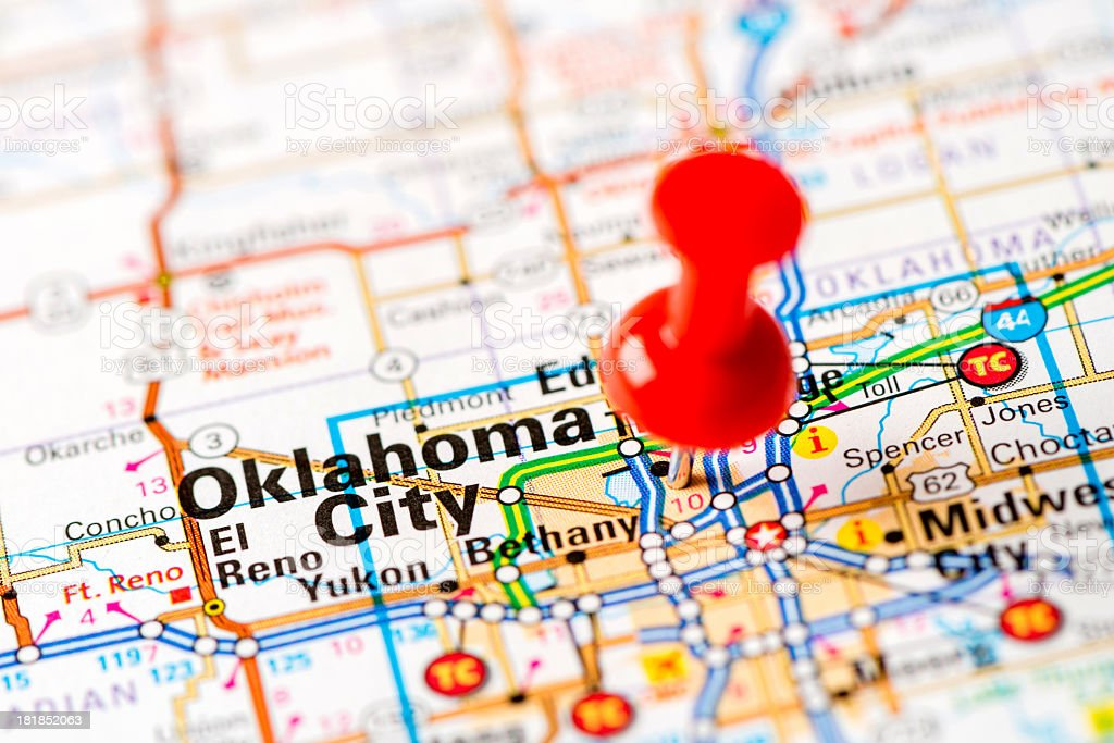 Picture of: Us Capital Cities On Map Series Oklahoma City Ok Stock Photo Download Image Now Istock