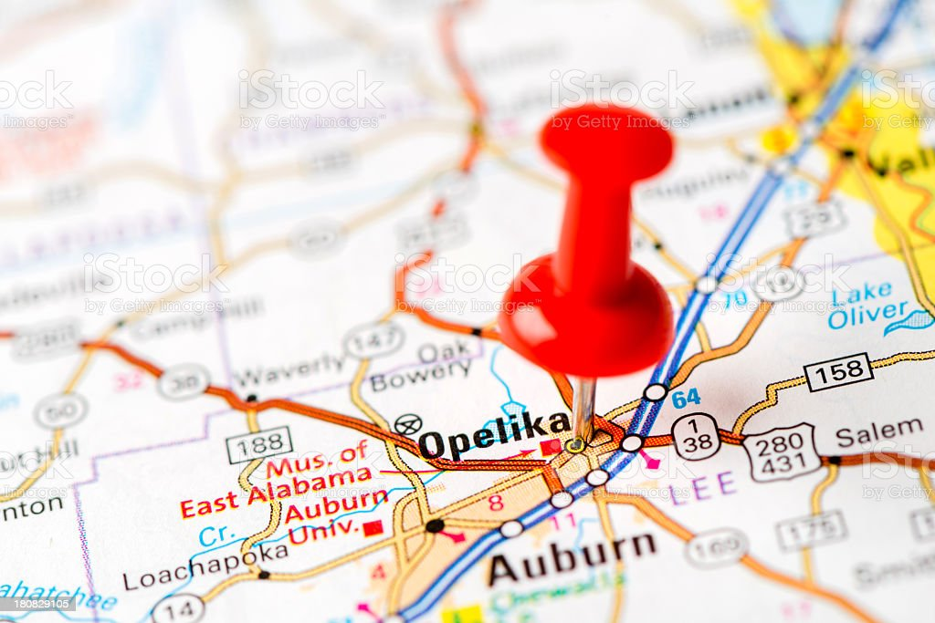 US capital cities on map series: Opelika, Alabama stock photo