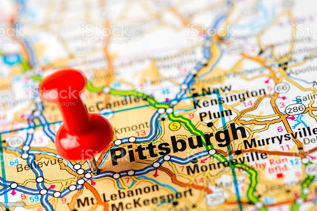 Us Capital Cities On Map Series Pittsburgh Pa Stock Photo - Download Image  Now