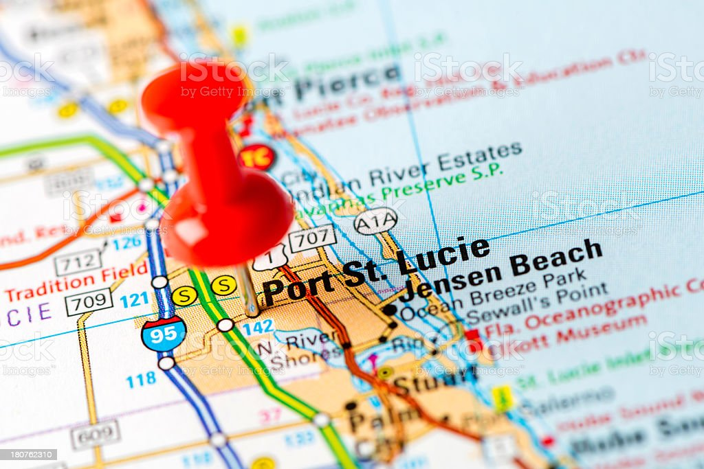 Map Of Port St Lucie Florida.Us Capital Cities On Map Series Port St Lucie Fl Stock Photo More