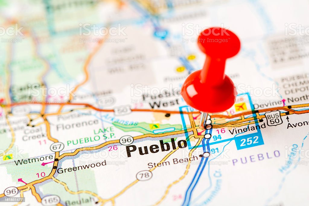 US capital cities on map series: Pueblo, CO stock photo