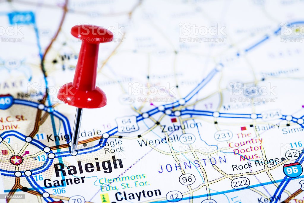 Us Capital Cities On Map Series Raleigh North Carolina Nc Stock - Us 1 nc map