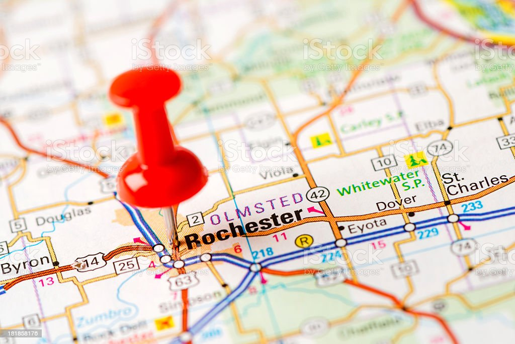 Us Capital Cities On Map Series Rochester Mn Stock Photo More