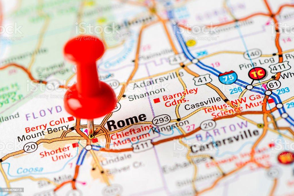 US capital cities on map series: Rome, GA stock photo