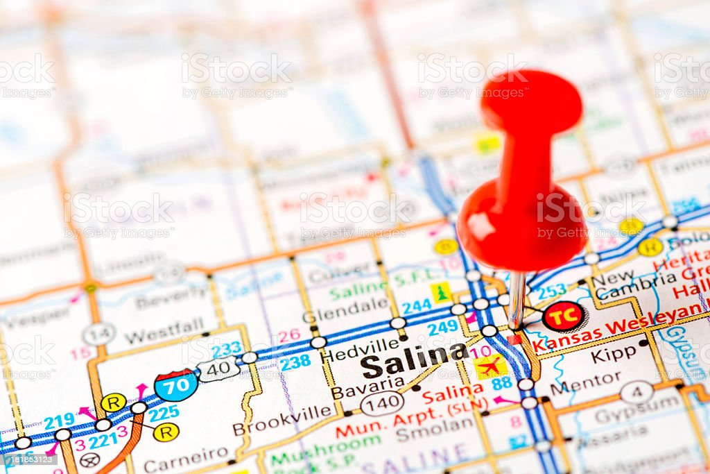 US capital cities on map series: Salina, KS stock photo