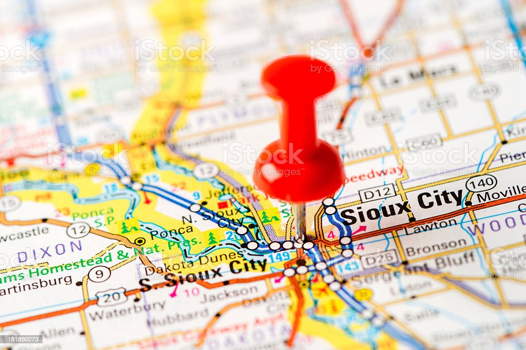 US capital cities on map series: Sioux City, IA stock photo