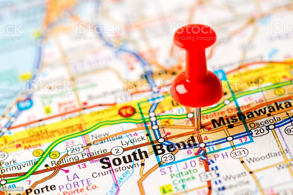 US capital cities on map series: South Bend, Indiana stock photo