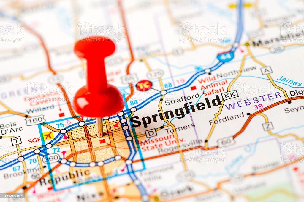 US capital cities on map series: Springfield, MO stock photo