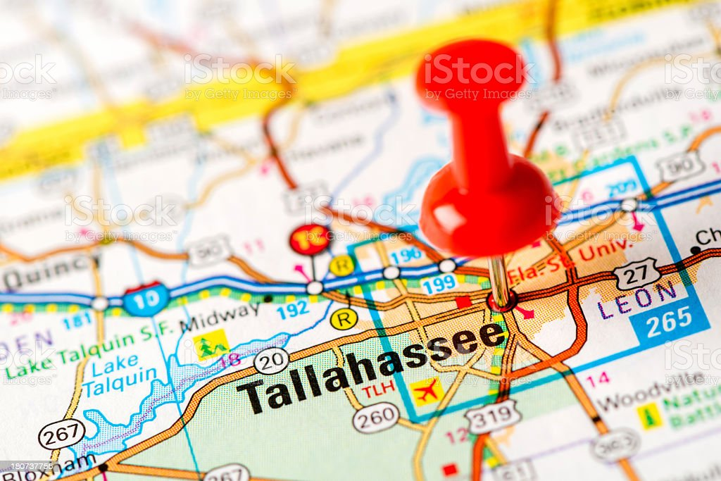Us Capital Cities On Map Series Tallahassee Fl Stock Photo ...