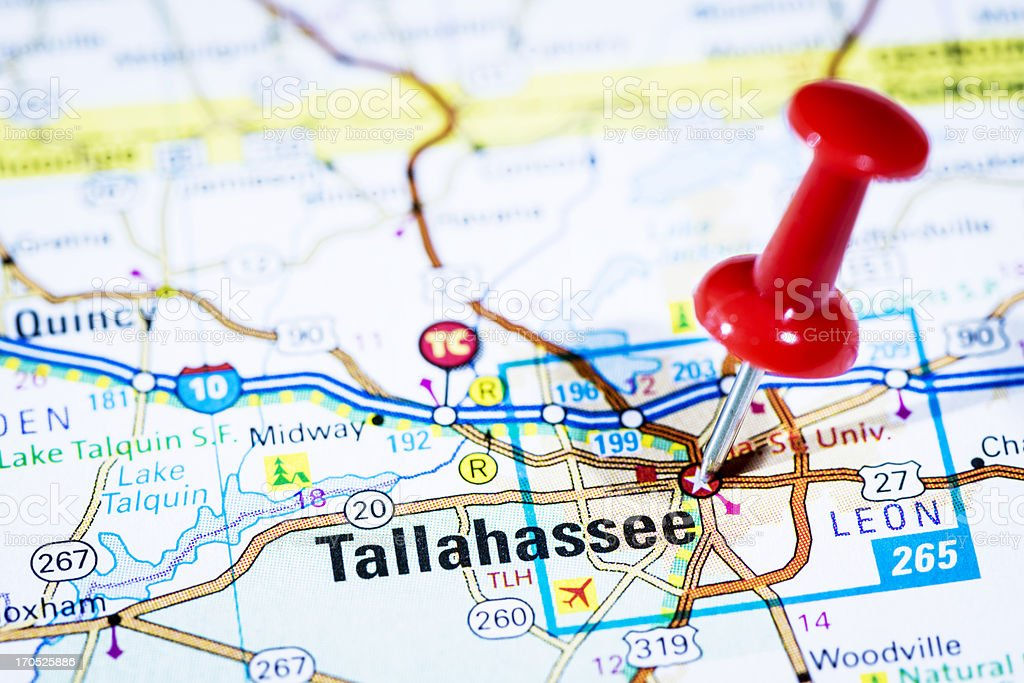 Map Of Tallahassee Florida.Us Capital Cities On Map Series Tallahassee Florida Fl Stock Photo