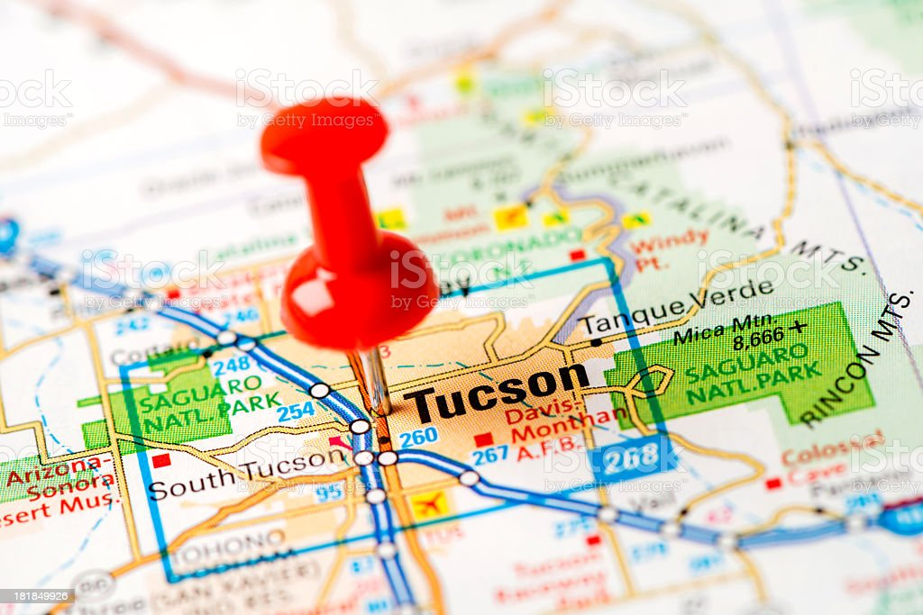 US capital cities on map series: Tucson, AZ stock photo