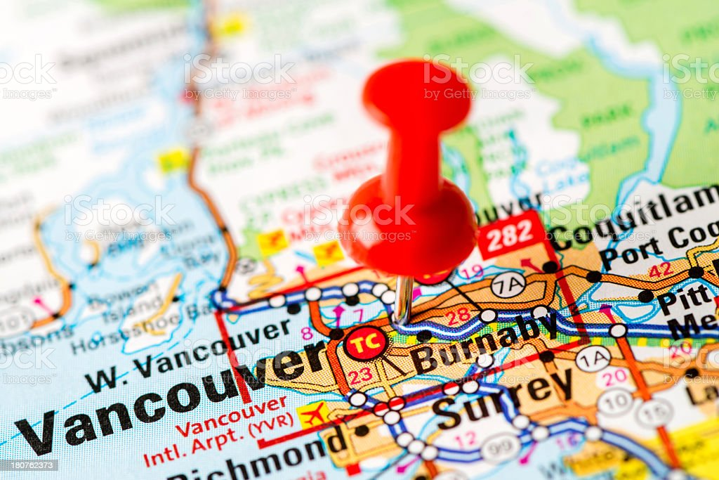 US capital cities on map series: Vancouver, BC royalty-free stock photo