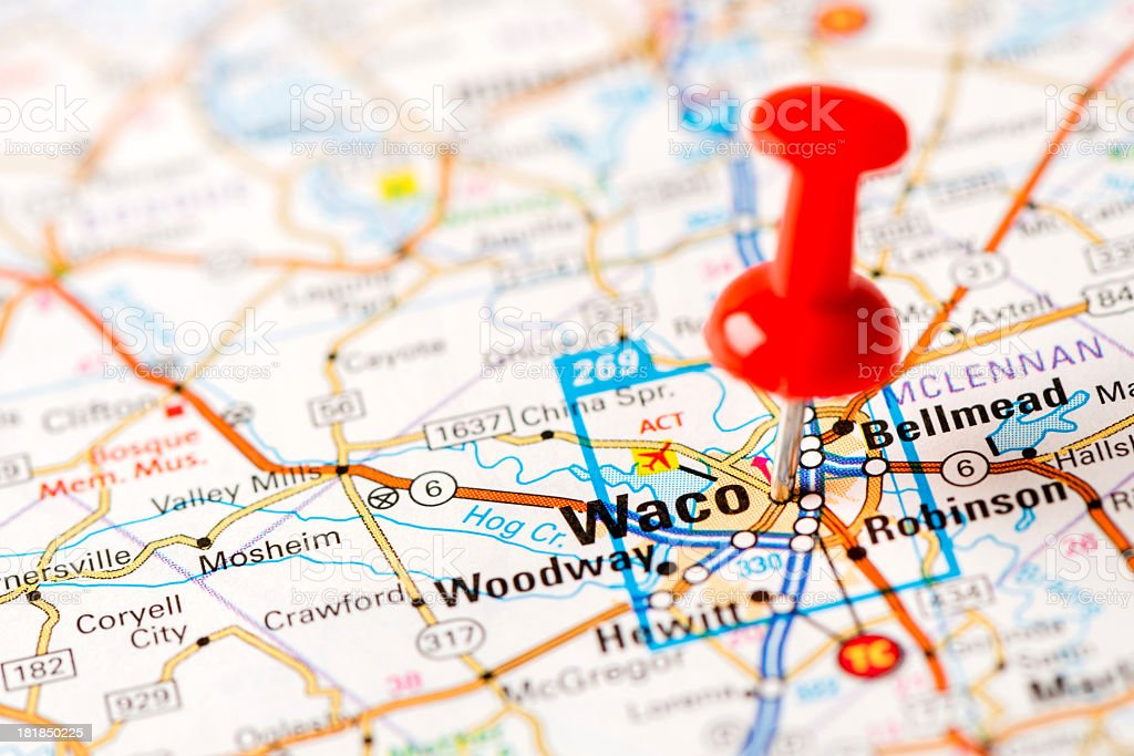 Us Capital Cities On Map Series Waco Tx Stock Photo More Pictures