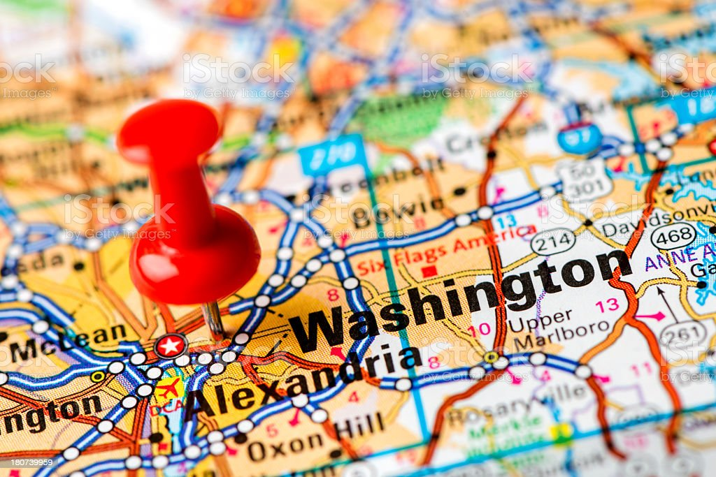 US capital cities on map series: Washington, Md. stock photo