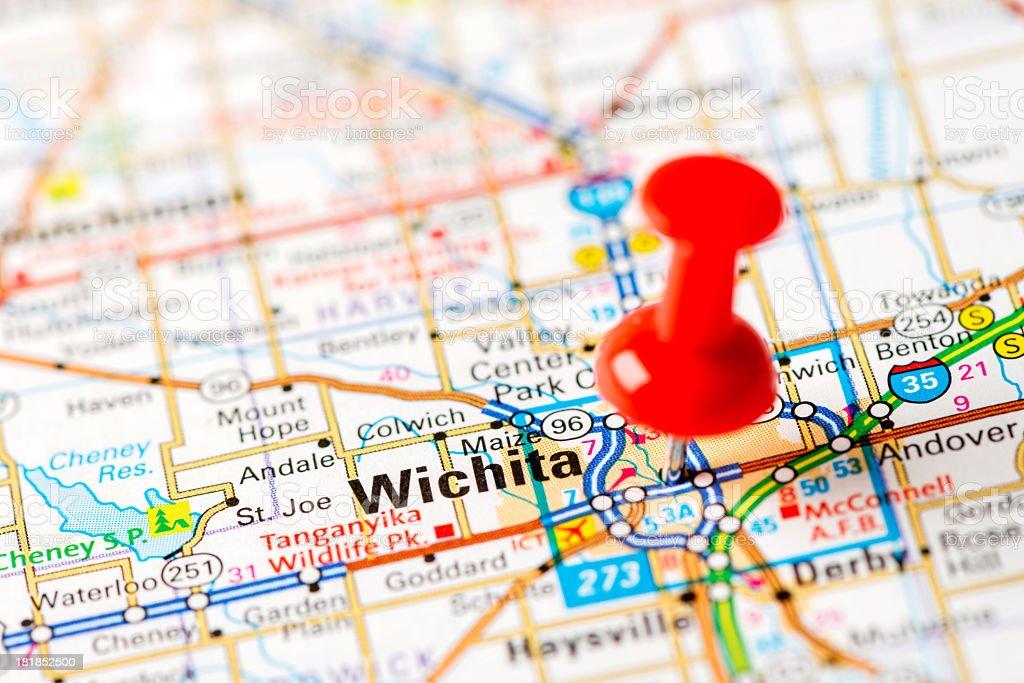 US capital cities on map series: Wichita, KS stock photo