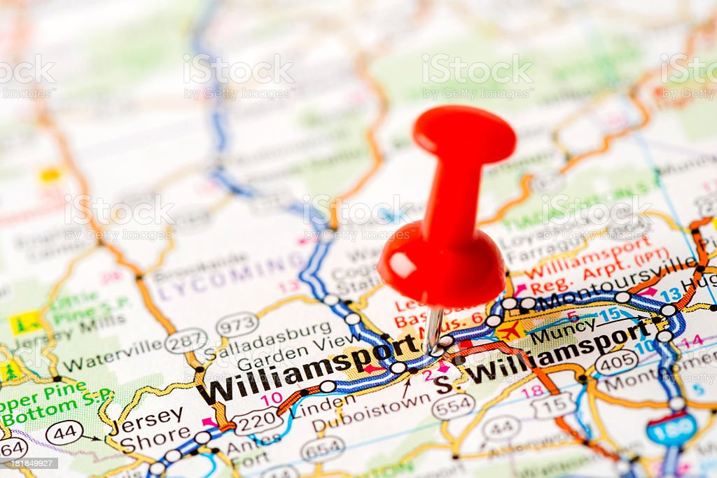 US capital cities on map series: Williamsport, PA stock photo
