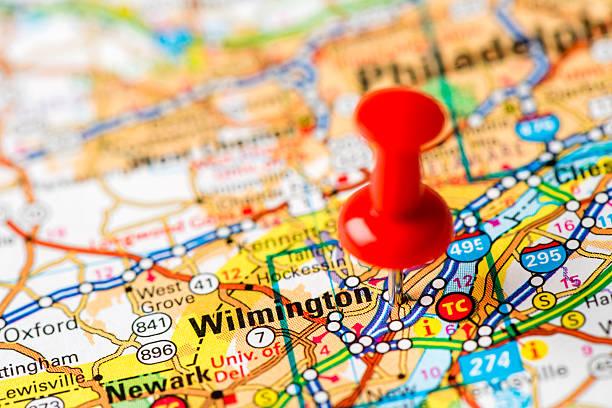 us-hauptstadt auf karte serie: wilmington, delaware - karten de stock-fotos und bilder