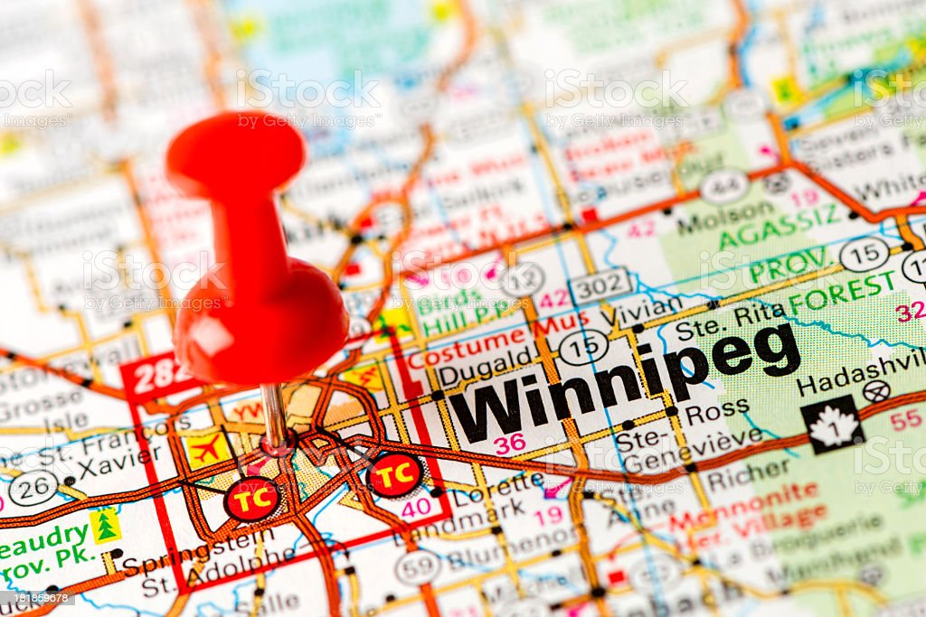 US capital cities on map series: Winnipeg, Manitoba royalty-free stock photo