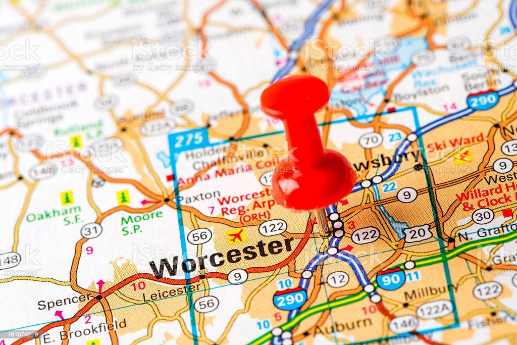 US capital cities on map series: Worcester, MA stock photo