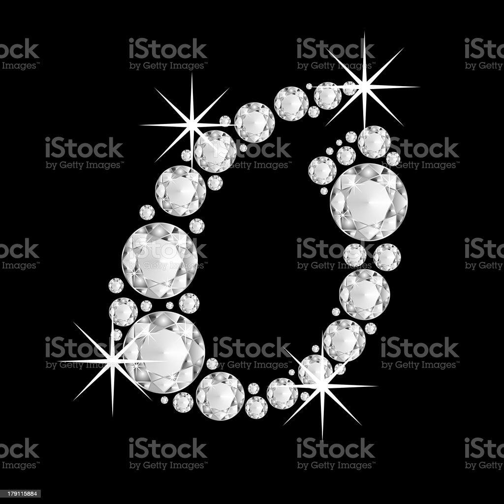 Capital diamonds  letter O of the alphabet royalty-free stock photo