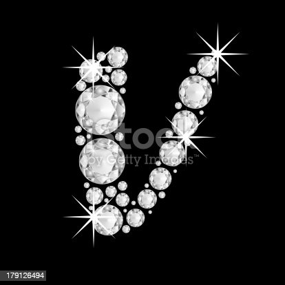 istock Capital diamonds  letter V of the alphabet 179126494