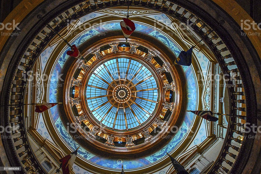 Capital Dome in Kansas Statehouse stained glass rotunda stock photo